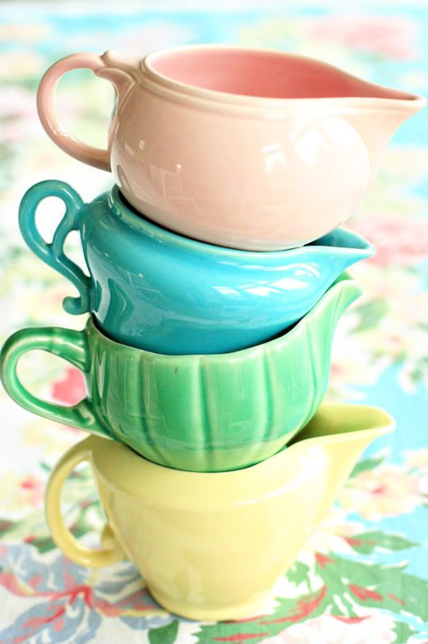 stacked creamers - pastels are timeless
