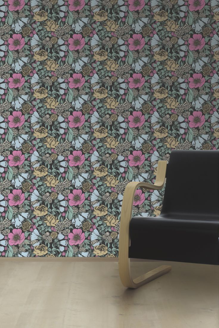 A bold and beautiful floral wallpaper design with large scale flowers by Marimekko.