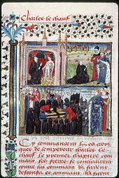 Apparition de Charles le Chauve et sa mise en sépulture à St-Denis (France, 15°s)- CHARLES LE CHAUVE. 8) TOMBEAU, 1: Au cours du retour vers Paris, en raison de la décomposition du corps, son corps est enterré à Saint-Pierre de NANTUA. (Rhone-Alpes) Selon la tradition, 7 ans après après sa mort, Charles le Chauve apparaît à un moine de Saint-Denis (et à un moine de Saint-Quentin en Vermandois).
