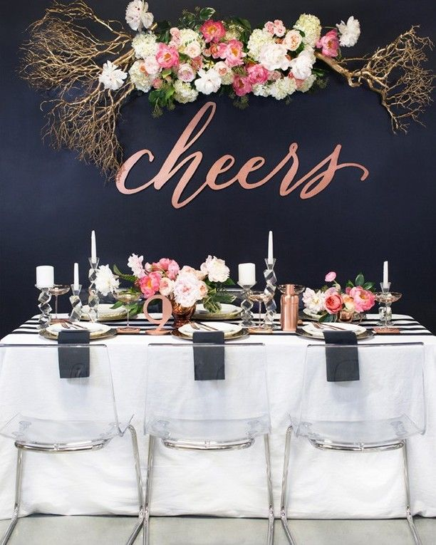 This NYE we shared last year is a must see! | photo @benqphotography event styling and floral design @the_southerntable venue #Studio2524 hair and makeup @anastasia_stylist fashion styling #DietCokeStraightUp barware and table decor @anthropologie invitations, cocktail stirrers, and laser cut signs @southernfriedpaper . . . . . #party #cheers #love #nyeparty #holidayparty #gatheringslikethese #celebrate#ruffledblog #lasercut #weddingsign #partydecor