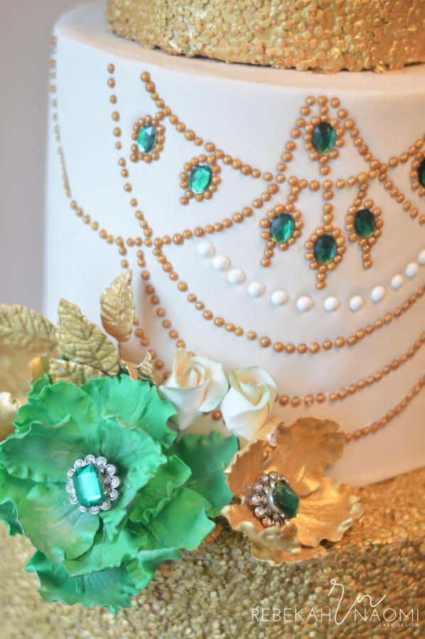 Emerald Anniversary Cake by Rebekah Naomi Cake Design - http://cakesdecor.com/cakes/235120-emerald-anniversary-cake