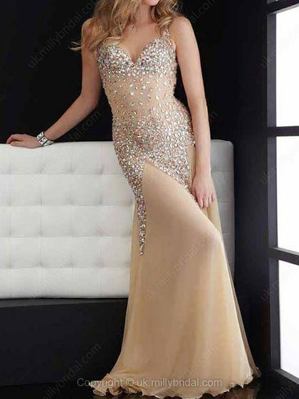 Sheath/Column Straps Chiffon Court Train Rhinestone Prom Dresses -USD$227.40