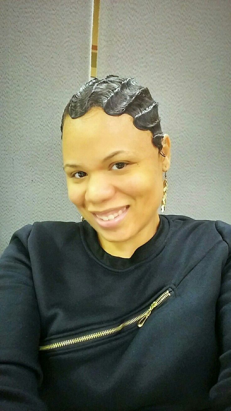 The traditional finger wave on relaxer free hair.