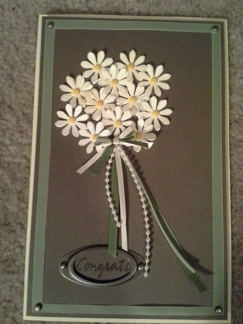 Handmade wedding card - This would be pretty with white and cream,and perhaps on a white embossed background.