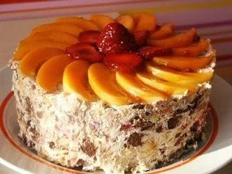 Вкусный творожный торт с абрикосами без выпечки