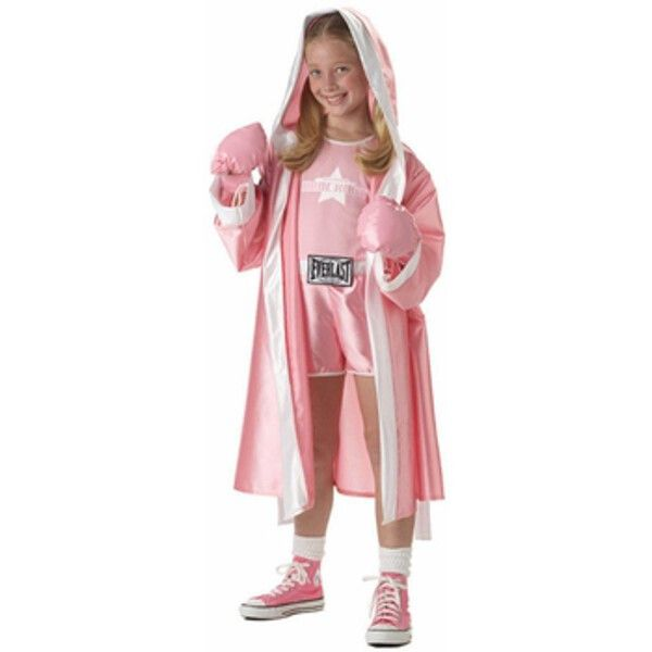 - Tank with attached shorts - Pink robe with logo - Robe tie - Hands free boxing…