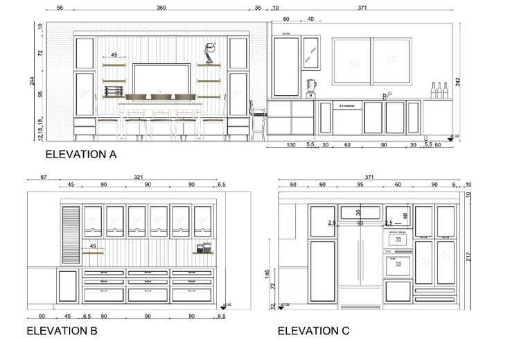Kitchen Plan Elevation And Section : Kitchen in elevation plan