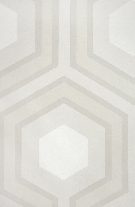 Hicks' Grand Hexagon Wallpaper Large Geometric design wallpaper in Stone and White.