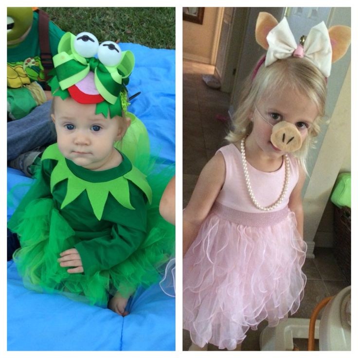 Brighton (Kermit) and Maddox (Miss Piggy) Halloween 2014. Costumes made by me!!