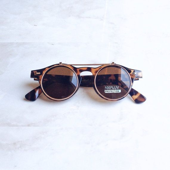 Brown Retro round flip sunglasses Lennon door TevinVincentDesigns, $12.00