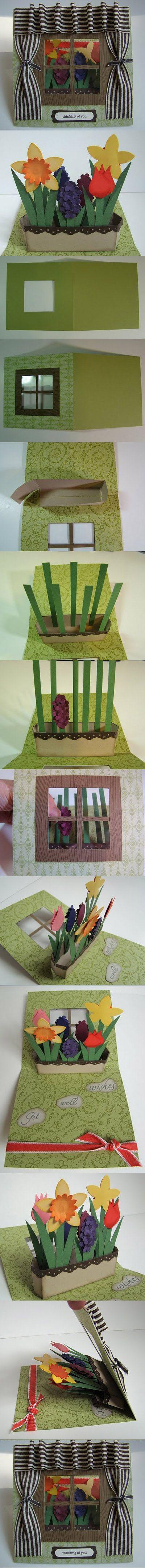 Tarjeta de ventana con flores