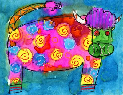 art projects for kids crazy cow painting - Kids Painting Images