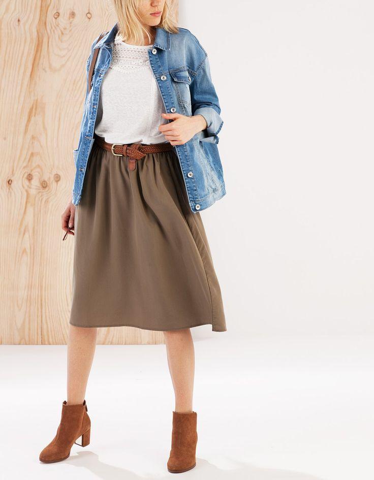 Midi skirt with elasticated waistband - SKIRTS - WOMAN | Stradivarius Turkey