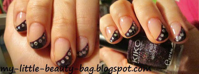 Eine diagonale und elegante Variante vom  French-Manicure.