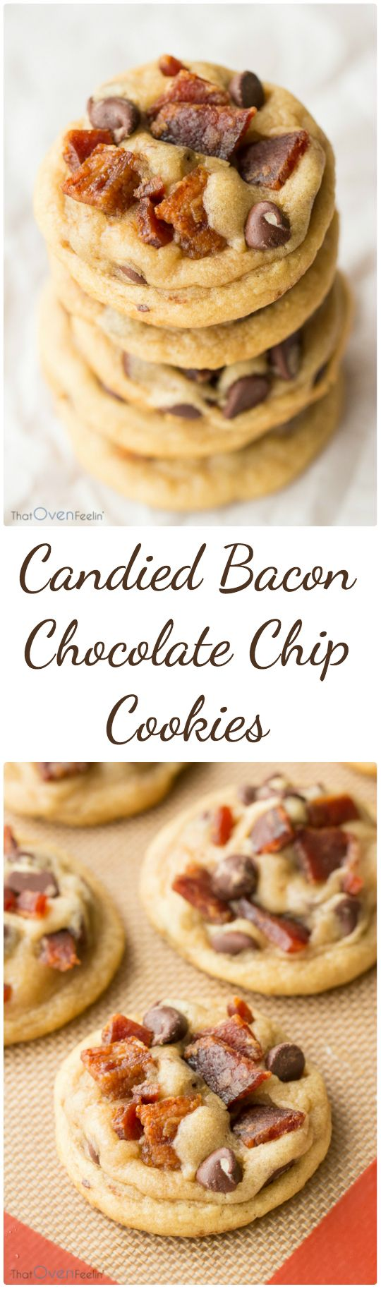 Candied Bacon Chocolate Chip Cookies... I am doing this!! THESE WERE GOOD... A LOT OF WORK BUT NOT BAD. MADE BACON WITH JUST BROWN SUGAR, COLD OVEN WHILE HEATING TO 400... WILL MAKE AGAIN