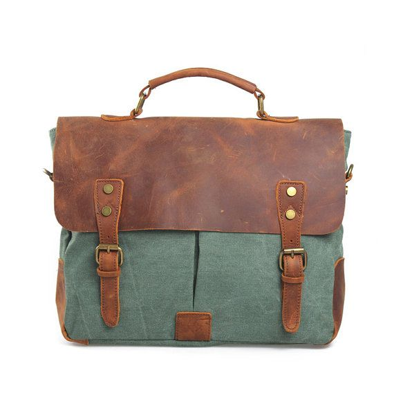 Vintage Genuine First Layer Leather Canvas Mixed Handmade Messenger Bag