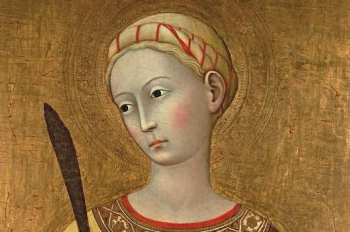 Maestro dell'Osservanza - Santa Lucia, dettaglio - 1430 c. - Fondazione Monte dei Paschi di Siena