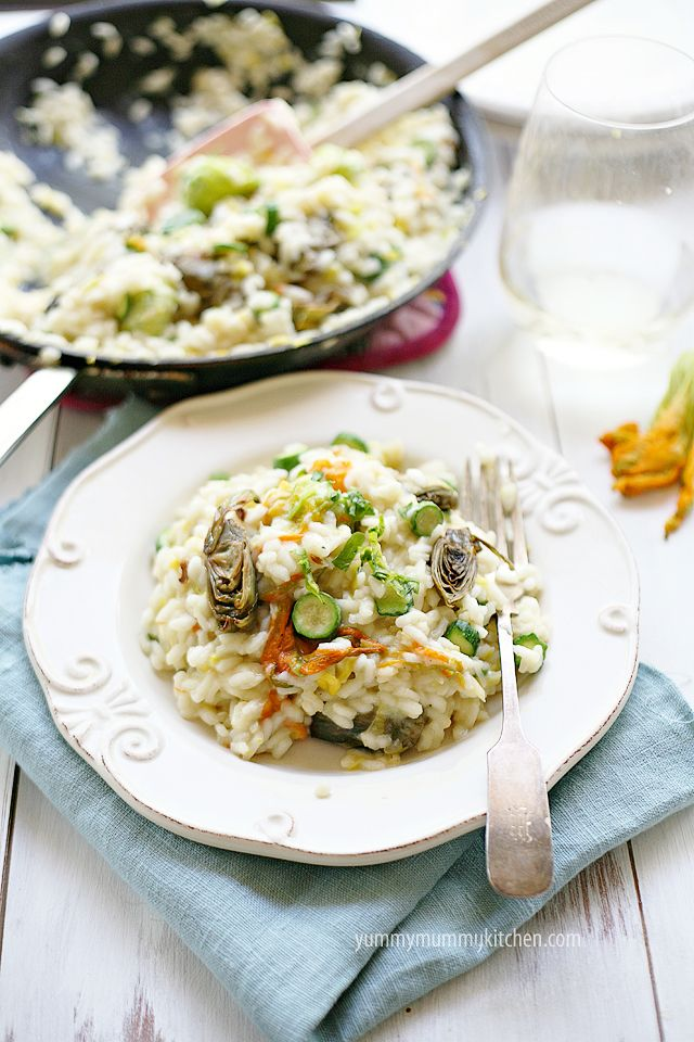 Zucchini Blossom and Artichoke Risotto {gluten free} from Yummy Mummy