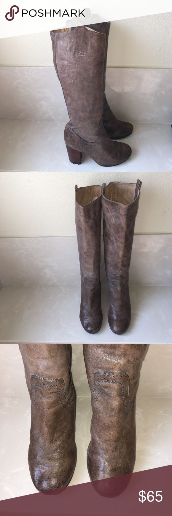 "Authentic Frye leather vintage look boots sz 8.5 Authentic Frye leather vintage look boots sz 8.5 heels measure 3.5"" tall boots have been loved- scuffs and creasing in leather sold as is Frye Shoes Heeled Boots"