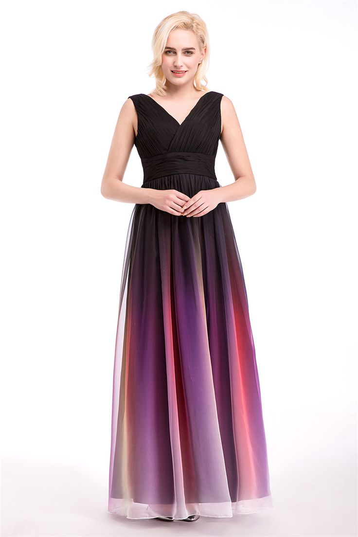 Stunning Lace Up Gradient Color High Quality Chiffon Formal Evening Dress Dinner Gown Three Styles