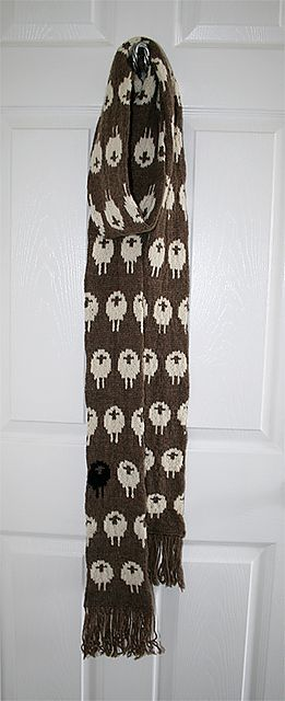 Ravelry: Stranded Sheep Scarf pattern by Chelsea Amanda, free pattern