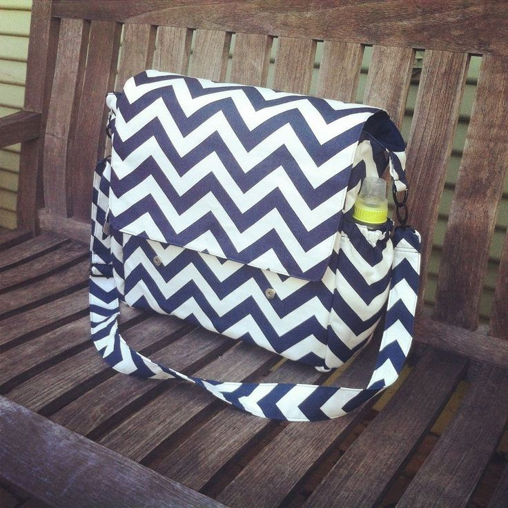 Large Navy Blue Chevron Diaper Bag, Messenger Bag Baby Bag, Large Messenger Diaper Bag with Crossbody Strap