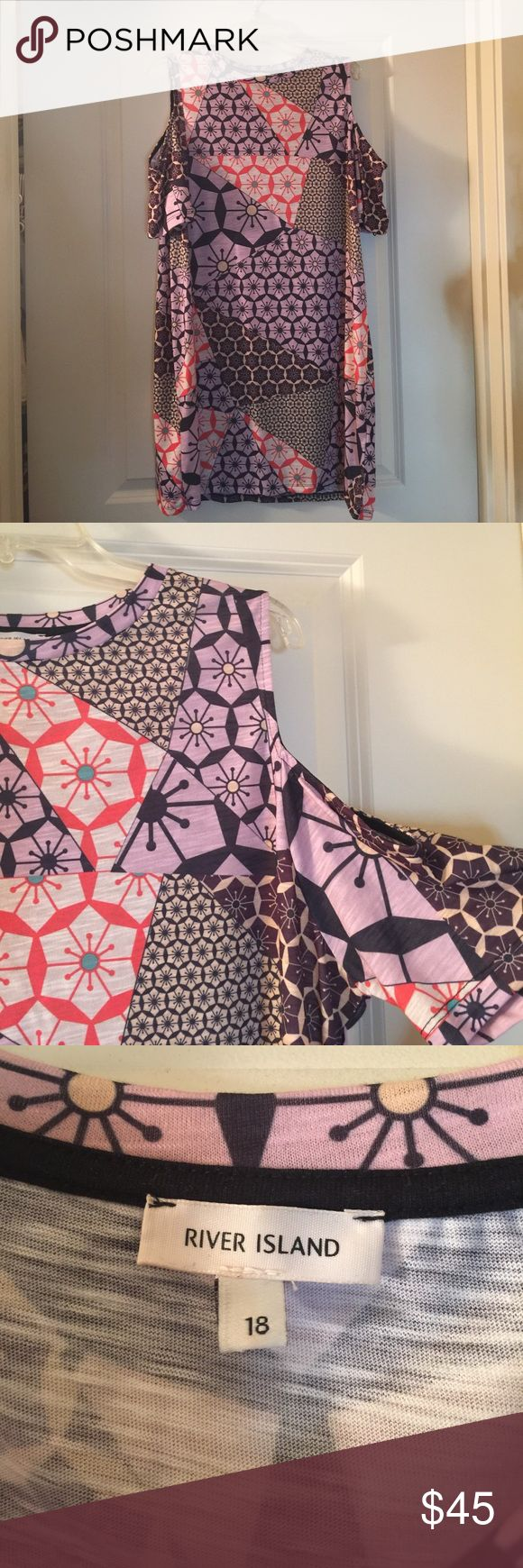 River Island Cold Shoulder Dress UK Size 18/US 16 Never worn River Island cold shoulder dress. It's a U.K. Brand so in the picture you can see it's a size 18 but actually US I'd say it's more of a 14/16 River Island Dresses Mini