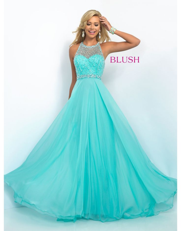 Blush Jeweled Halter Gown