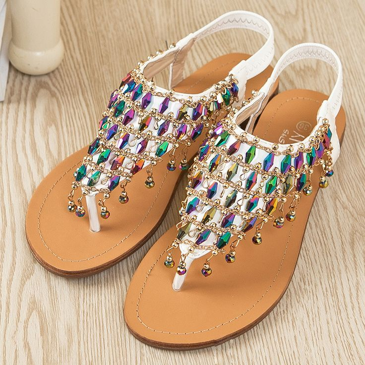 Rhinestone Flat Sandals Ya Likin My Shoes Pinterest