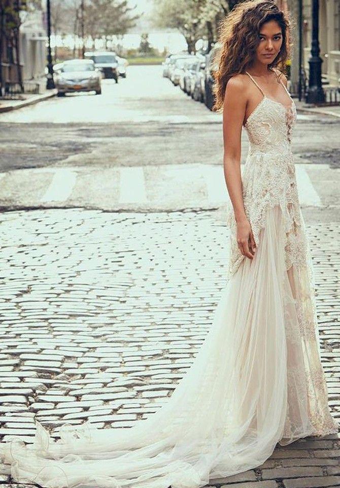 6ff47dbffb A-Line Spaghetti Straps Boho Beach Wedding Dress with Lace Appliques -  Wedding Party Dresses - US  249.99
