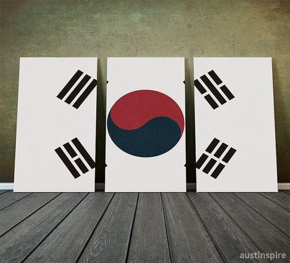Hey, I found this really awesome Etsy listing at https://www.etsy.com/listing/174652339/south-korea-flag-triptych-canvas-matte