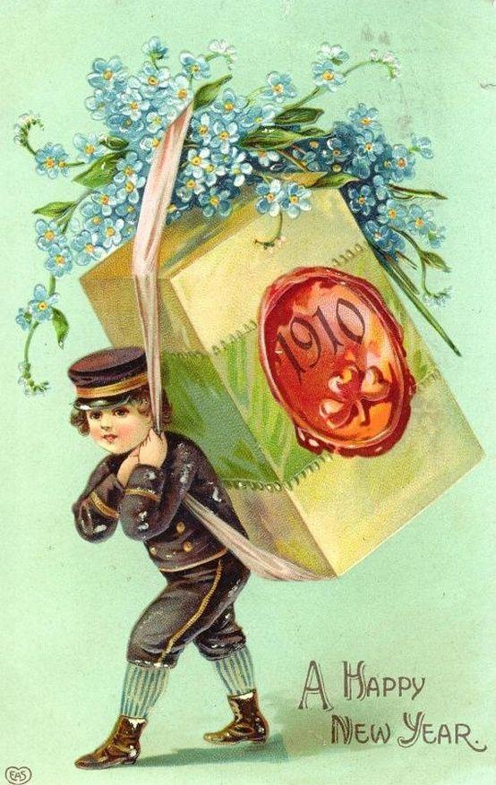 Марта своими, новогодние открытки 1913 года