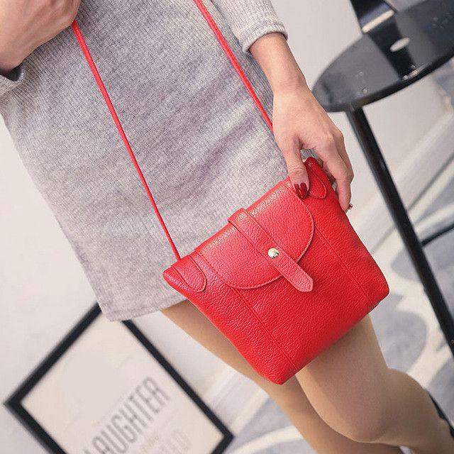 Women Leather Handbags Small Women Messenger Bags Female Crossbody Shoulder Bag Mini Clutch Purse Bag Candy Color
