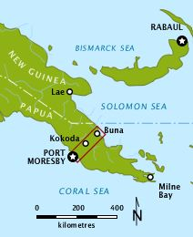 Location of the Kokoda Trail within Territory of Papua, 1942. The highlighted area is shown in the map below