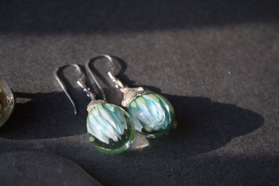 Spring turquoise earrings. Glass silver от LikeAGlassShop на Etsy