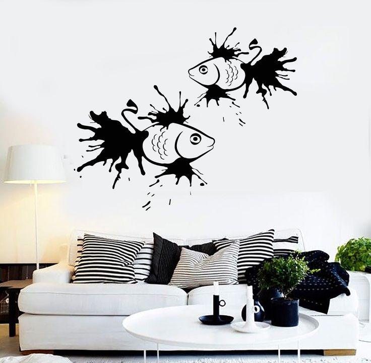 vinyl wall decal fish art marine home interior bathroom stickers ig3984