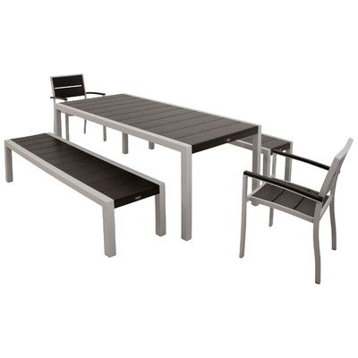 Surf City 5 Piece Bench Dining Set Color: Textured Silver / Charcoal Black - http://diningsetspot.com/surf-city-5-piece-bench-dining-set-color-textured-silver-charcoal-black-640847014/