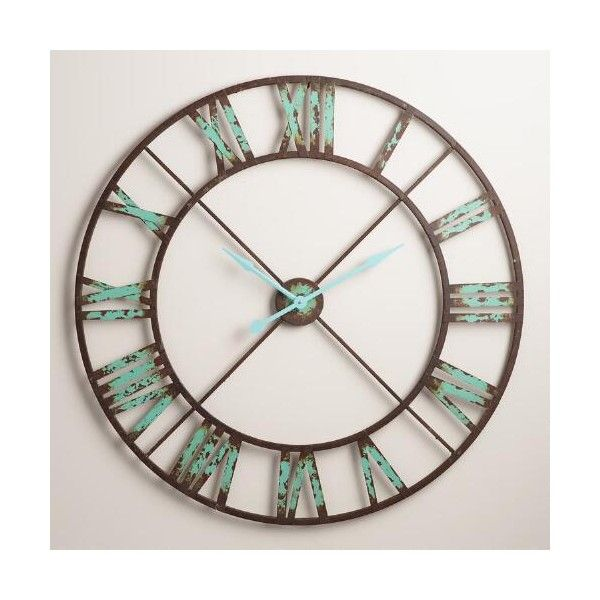 cost plus world market industrial reed wall clock 130 liked on polyvore featuring