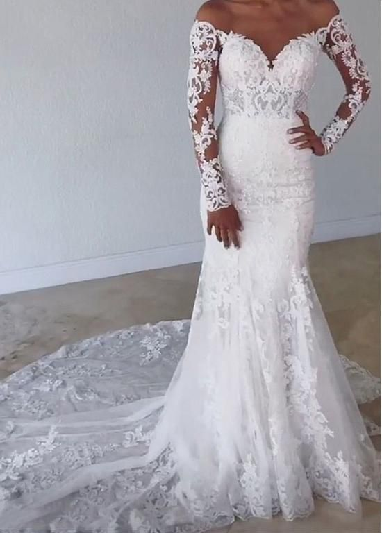 Magbridal Fabulous Tulle Jewel Neckline Mermaid Wedding Dresses With Beaded Lace Appliques