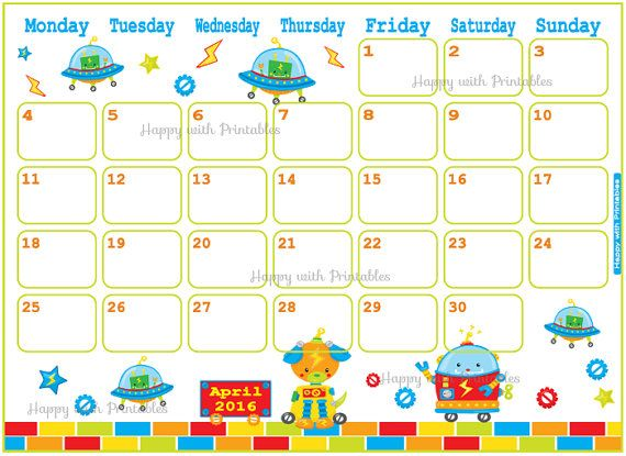 Happy With Printables Calendar : Calendar april printable kids planner by