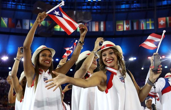 Members of the Puerto Rico team take part during the Opening Ceremony of the Rio 2016 Olympic Games at Maracana Stadium on August 5, 2016 in Rio de Janeiro, Brazil.