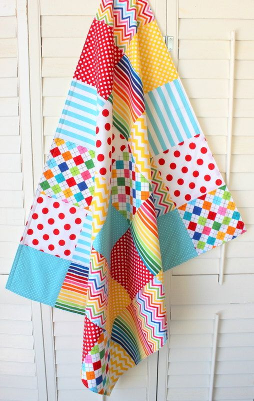 Baby Blanket , Gender Neutral Blanket, Minky Patchwork Blanket, Circus, Carnival, Nursery Decor, Rainbow Unisex Nursery, Rainbow Chevron