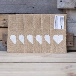 Hessian Cutlery Holders | WHITE HEART | Set of 6