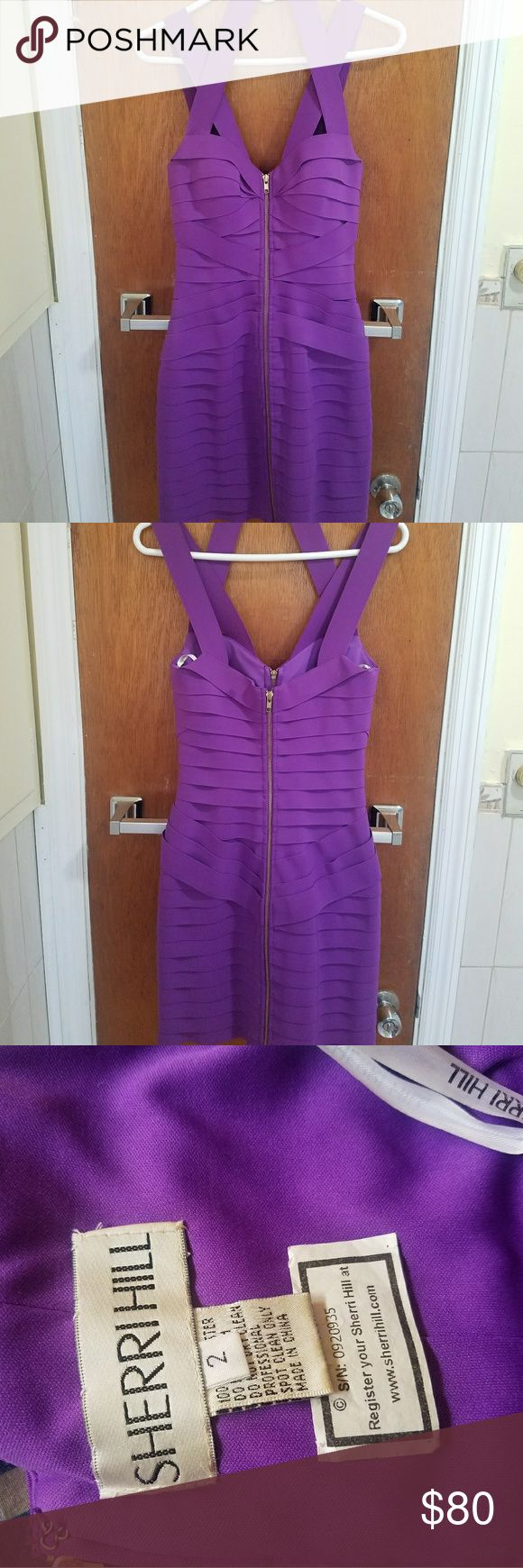 Sherri Hill Purple Zipper Bandage Dress ***PRICE IS NEGOTIABLE***  Great for cocktail parties, proms, formals, or nights out on the town. Zipper gives you adjustable cleavage. Bandage material gives sexy hourglass shape. Pretty purple jewel tone! Only worn once. Condition is like new. Sherri Hill Dresses