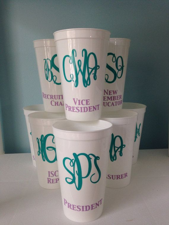 Sorority Executive Board Cups Set of 8 by CutitOutVinyl on Etsy, $34.00