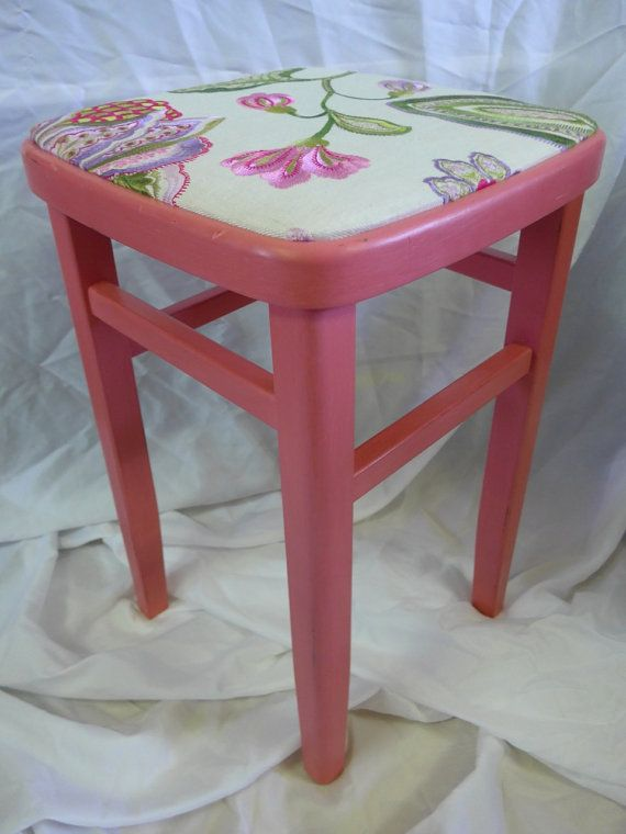 Vintage Wooden Stool  1950's  Upcycled Shabby Chic by RevampedUp