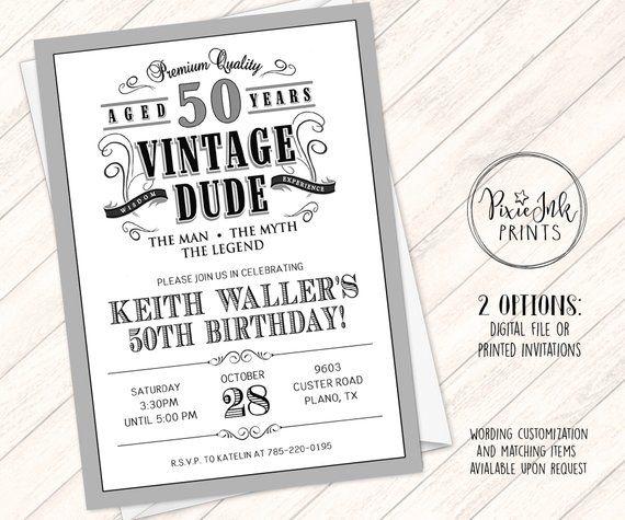 Vintage Dude Birthday Invitation Through The Ages Invite Milestone Bir Milestone Birthday Invitations Vintage Birthday Invitations Photo Birthday Invitations