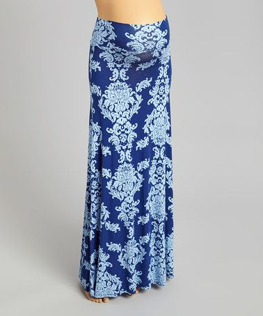 Look what I found on #zulily! Blue Damask Maternity Maxi Skirt - Women #zulilyfinds