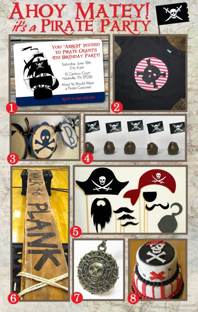 1.  The Invitation 2.  Pirate TShirt 3.  Bunting 4.  Cupcakes and Free Printable Flags 5. Photo Booth Pirate Props 6. Walk the Plank! 7.  Pirate Medallion – Doubloon 8.  Skull Cake http://blog.swankypress.com/2012/01/boy-birthday-party-ideas-pirate-party/
