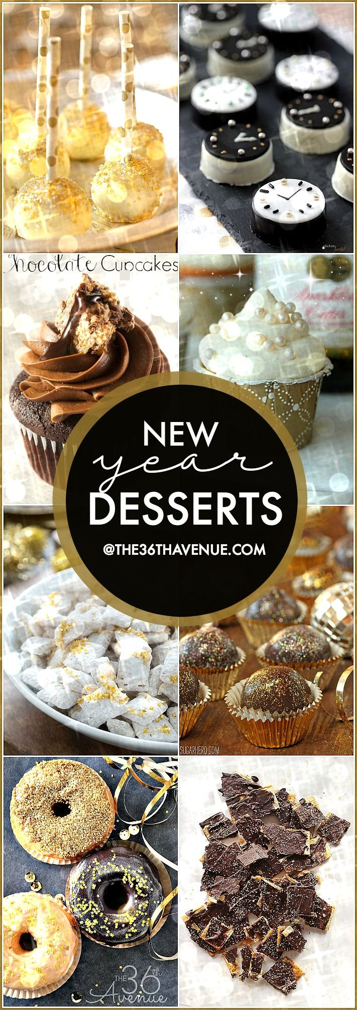 New Year Dessert Recipes - These easy recipes are festive and delicious! Perfect for New Year's Eve or any sparkling party! PIN IT NOW and make them later!